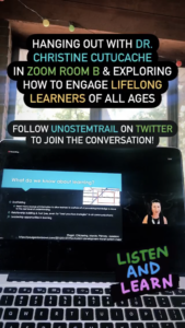 Screen grab from an Instagram story post about Dr. Christine Cutucache's SciComm presentation on engaging lifelong learners of all ages