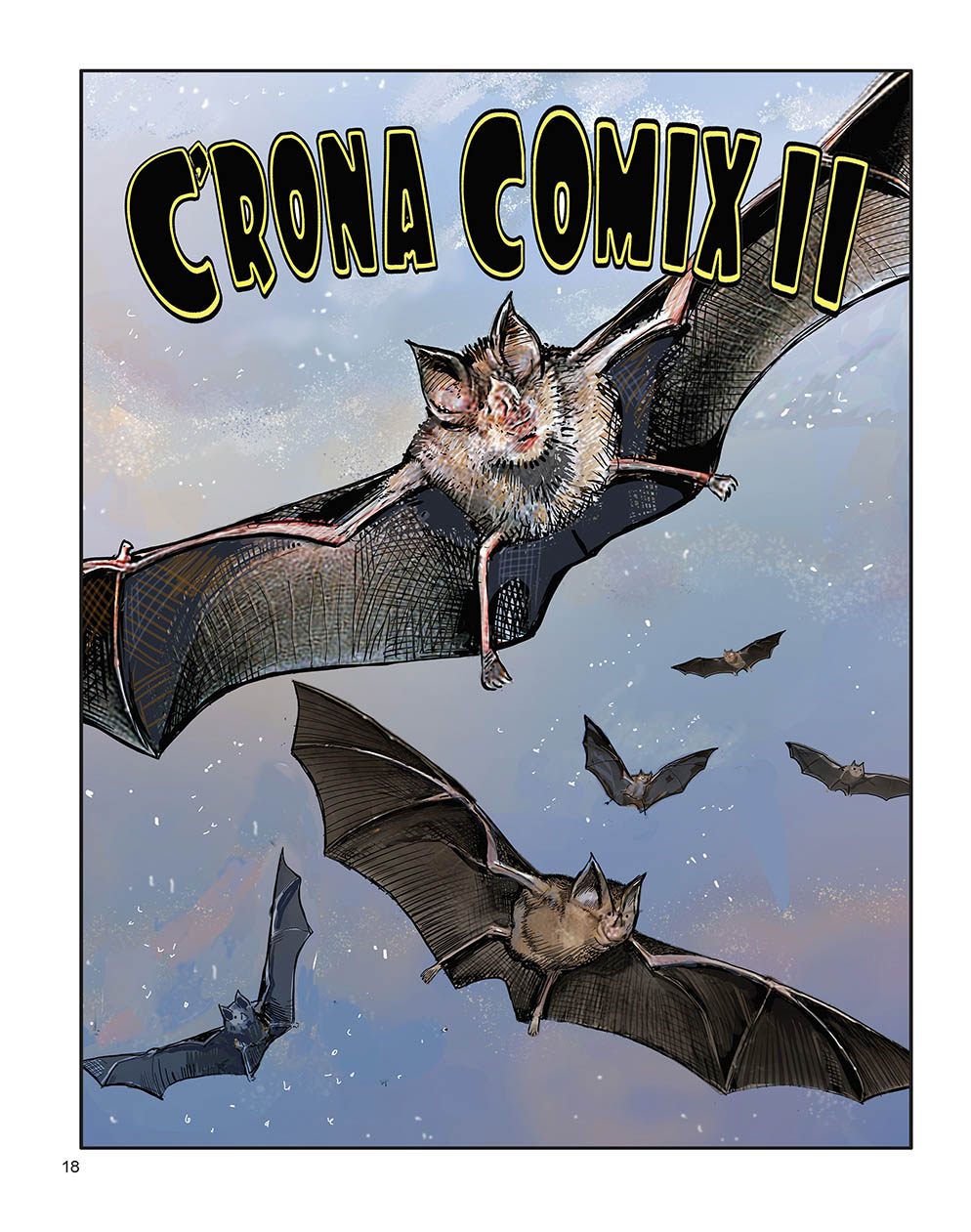 """Color illustration of several bats flying through the dusk with the title """"C'RONA COMIX II"""" at the top of the page in block lettering."""