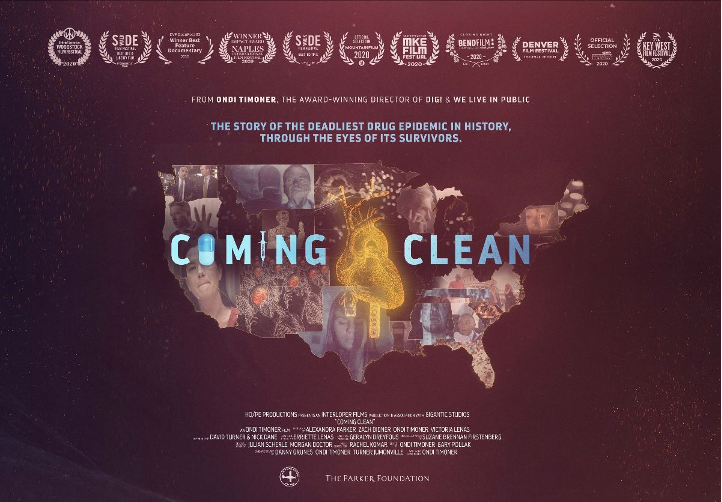 Movie poster for the film Coming Clean features a map of the united states. There are images of people superimposed over the map and a golden heart in the center.