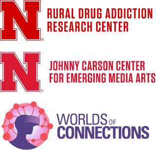 Rural Drug Addiction Research Center and Johnny Carson Center for Emerging Media Arts logos featuring a red Nebraska N. Worlds of Connection logo featuring a purple silhouette of someone wearing VR goggles, revealing a colorful pink network